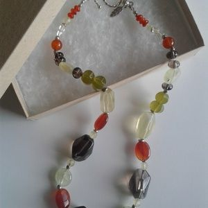 Chunky Gemstone Nugget Necklace, Sterling Silver